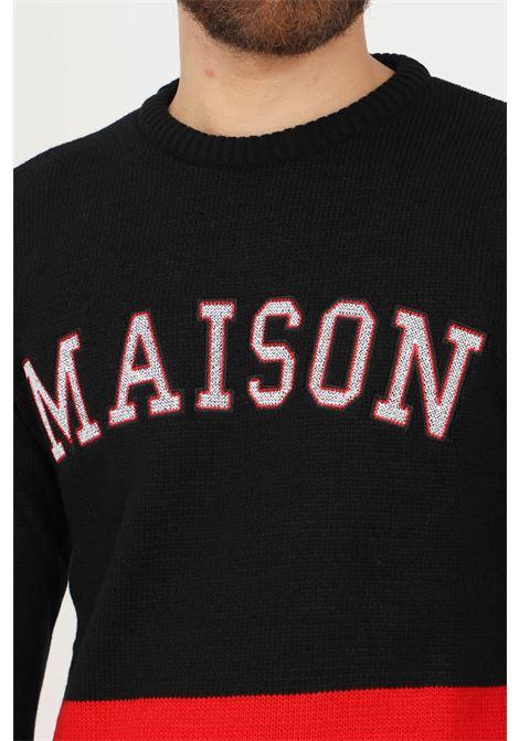 Black men's sweater by maison 9 paris with maxi logo on the front MAISON 9 PARIS   Knitwear   M9ML0014NERO