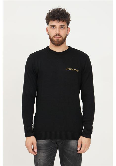 Black men's sweater by maison 9 paris, crew neck model with gold logo embroidery MAISON 9 PARIS   Knitwear   M9ML022NERO