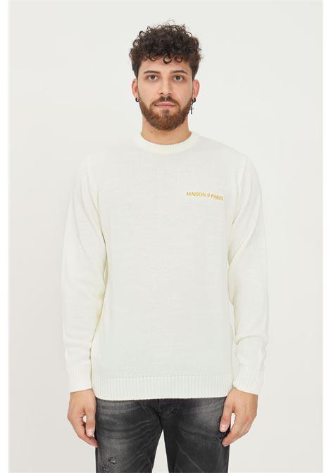 Cream men's sweater by maison 9 paris, crew neck model with gold logo embroidery MAISON 9 PARIS   Knitwear   M9ML022PANNA