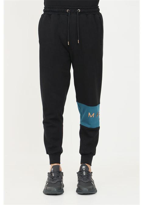 Black men's trousers by maison 9 paris with logo band on the left leg MAISON 9 PARIS   Pants   M9P4136NERO