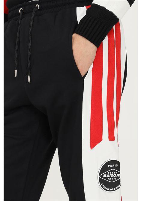 Black men's trousers by maison 9 paris, casual model with side bands MAISON 9 PARIS   Pants   M9P4140.