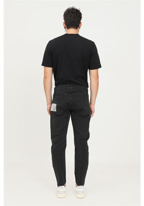 Black men's trousers by maison 9 paris, causal model with silver logo insert MAISON 9 PARIS   Pants   M9P4146NERO