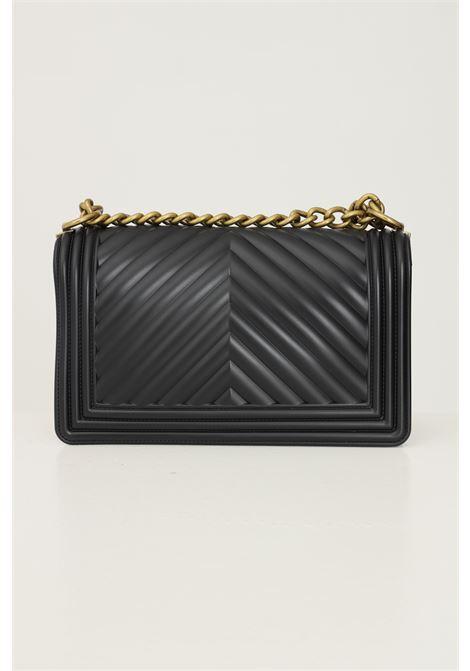 Black women's flat m bag by marc ellis with fixed chain and fabric shoulder strap MARC ELLIS | Bag | FLAT MBLACK/OTTONE