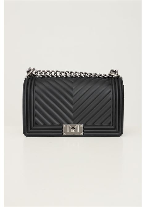 Black women's flat m bag by marc ellis with fixed chain and fabric shoulder strap MARC ELLIS | Bag | FLAT MBLACK/PALLADIO
