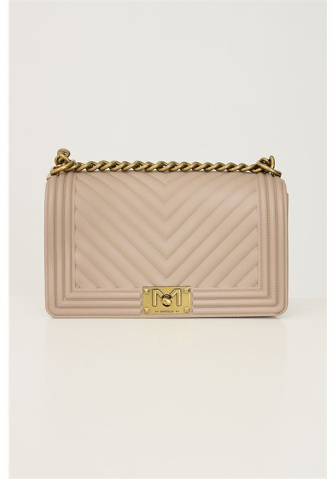 Beige women's flat m bag by marc ellis with fixed chain and fabric shoulder strap MARC ELLIS | Bag | FLAT MTAUPE