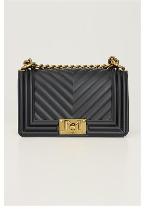 Black women's flat s bag by marc ellis with fixed chain and fabric shoulder strap MARC ELLIS | Bag | FLAT SBLACK/OTTONE