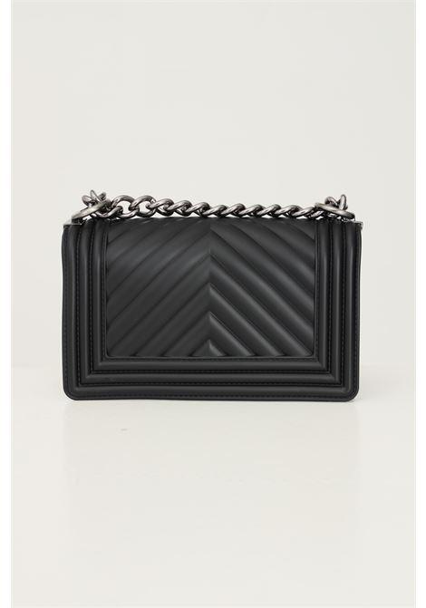 Black women's flat s bag by marc ellis with fixed chain and fabric shoulder strap MARC ELLIS | Bag | FLAT SBLACK/PALLADIO