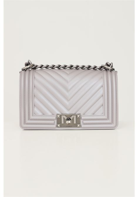 Grey women's flat s bag by marc ellis with fixed chain and fabric shoulder strap MARC ELLIS | Bag | FLAT SDARK SILVER