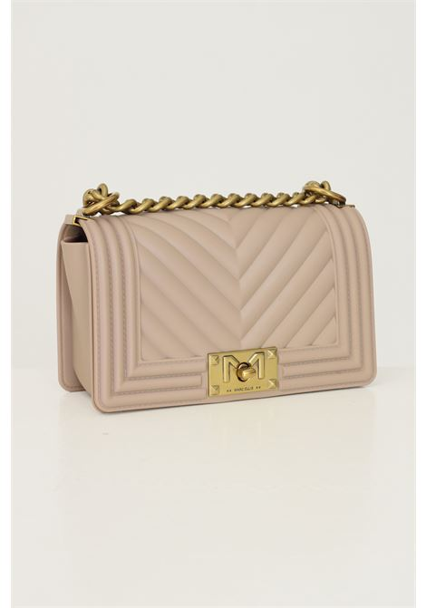 Beige women's flat s bag by marc ellis with fixed chain and fabric shoulder strap MARC ELLIS | Bag | FLAT STAUPE