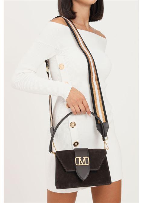 Brown women's kourtney suede bag by marc ellis with shoulder strap and embossed gold logo MARC ELLIS | Bag | KOURTNEY SUEDEMOKA