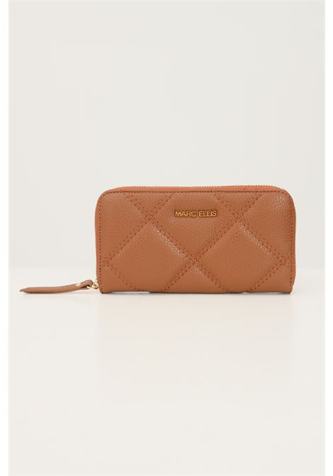 Brown women's wallet by marc ellis with zip, stitching model MARC ELLIS | Wallet | MARVY QUILTCUOIO