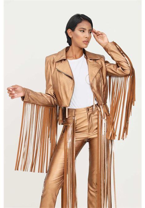 Giacca in pelle bronzo matilde couture con applicazione frange MATILDE COUTURE | Giubbotti | GILDA.BRONZO