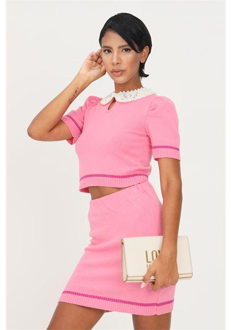 Maglioncino rosa donna matilde couture con colletto di perle MATILDE COUTURE | Maglieria | MAYA.ROSA