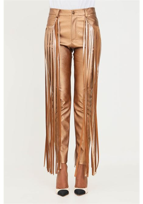 Bronze women's trousers by matilde couture with fringes MATILDE COUTURE | Pants | PENELOPE.BRONZO