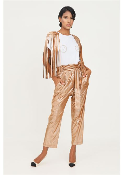 Gold women's trousers by matilde couture with belt at the waist. MATILDE COUTURE | Pants | PEONIA..