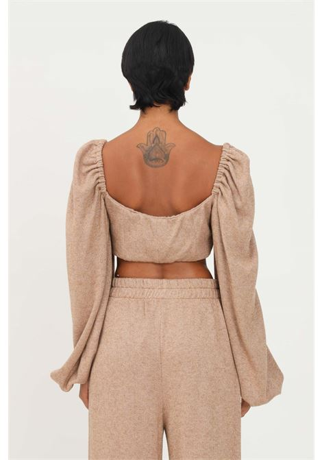 Camel top by matilde couture, short cut in lurex MATILDE COUTURE | Top | TRINITY.CAMMELLO