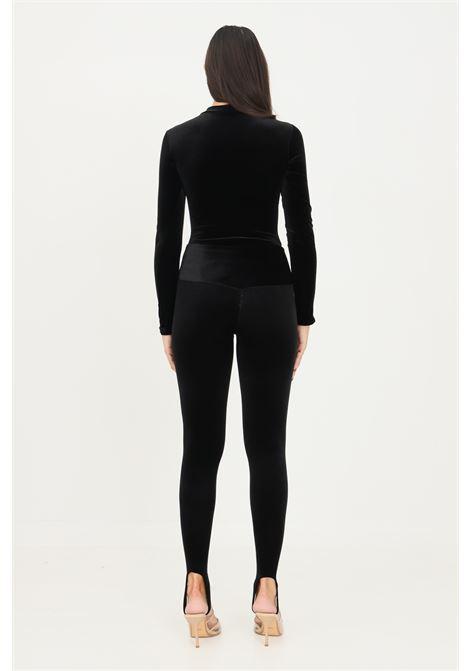 Black leggings by matinèe in velvet, tight cut with brackets MATINèE   Leggings   DP2001NERO
