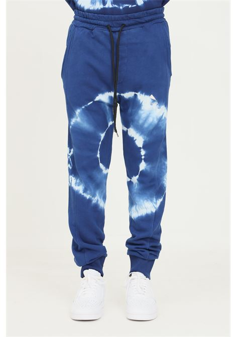 Blue men's trousers by mauna kea, casual model with allover print MAUNA-KEA | Pants | MKS227_SC28SHIBORI JOGGER