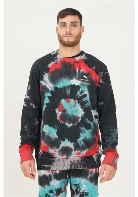 Black men's tie dye sweatshirt by mauna kea, crew neck model MAUNA-KEA | Sweatshirt | MKS608_C2629GALAXY