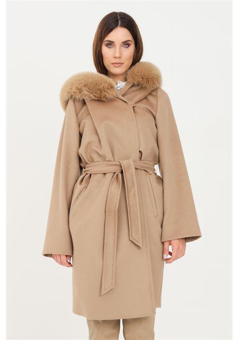 Cappotto donna cammello max mara con pelliccia MAX MARA | Cappotti | 60161319600006