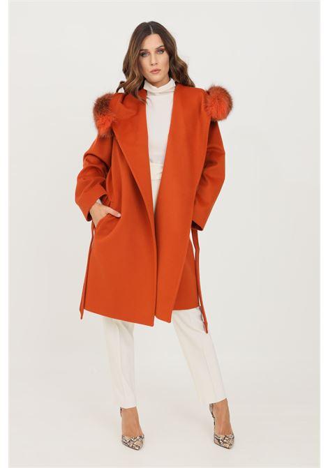 Cappotto lungo donna arancio max mara con cappuccio MAX MARA | Cappotti | 60162813600005