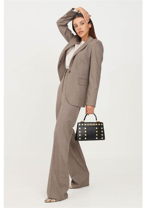 Pantaloni donna cammello max mara elegante con trama allover MAX MARA | Pantaloni | 61360213600025