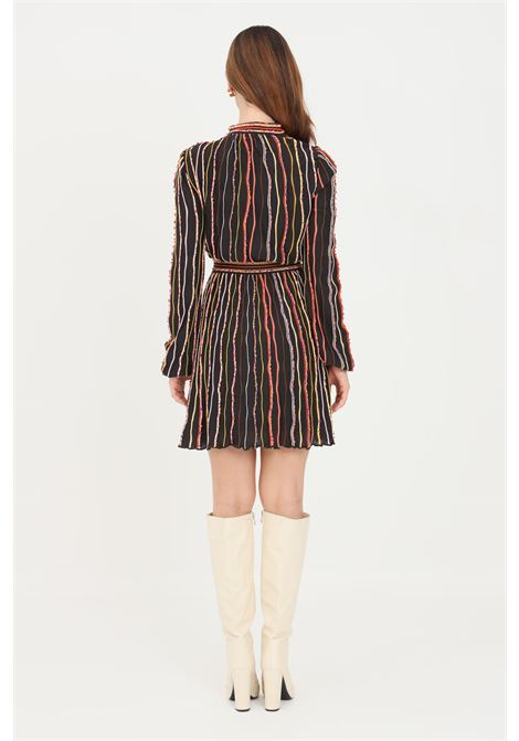 Black women's dress by missoni with multicolor vertical embroidery MISSONI | Dress | 2DG00689S808V