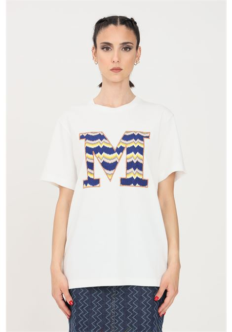 T-shirt donna bianco missoni a manica corta con ricamo blu logo frontale MISSONI | T-shirt | 2DL00102-B14300