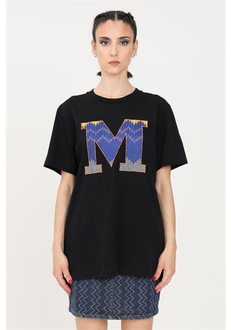 T-shirt donna nero missoni a manica corta con ricamo blu logo frontale MISSONI | T-shirt | 2DL00102-B93911