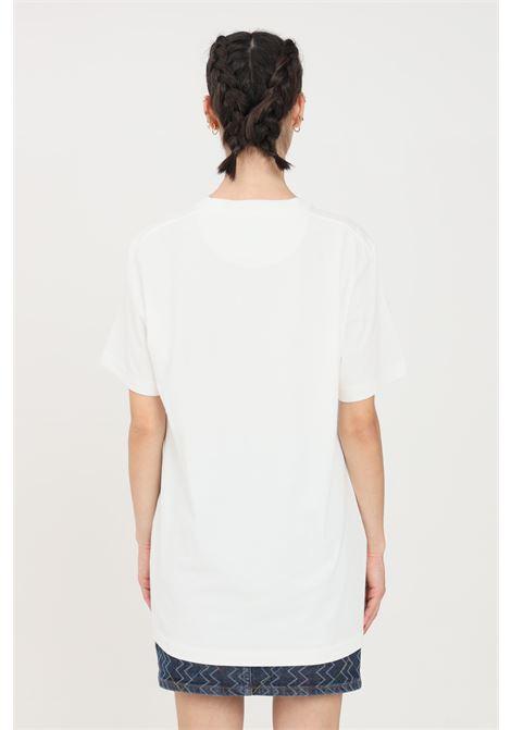 T-shirt donna bianco missoni a manica corta con logo ricamato frontale MISSONI | T-shirt | 2DL00102-BE14300