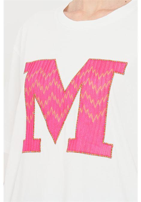 T-shirt donna bianco missoni a manica corta con logo ricamato frontale MISSONI | T-shirt | 2DL00102-F14300