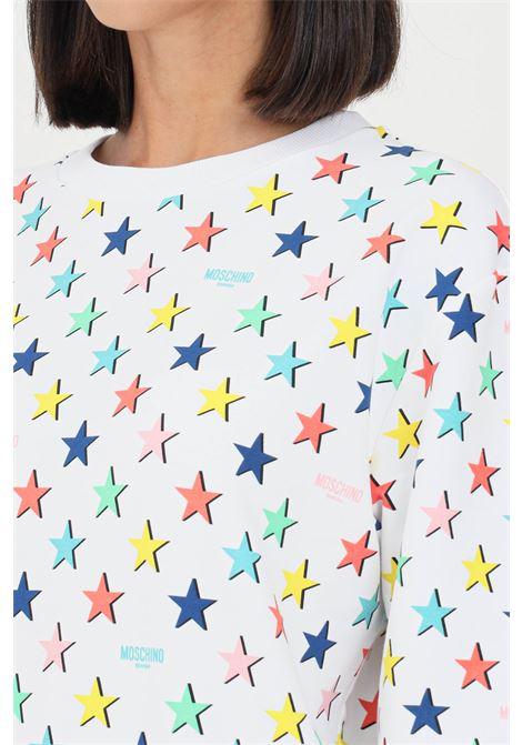 White women's sweatshirt with allover star print MOSCHINO | Sweatshirt | A170426051001