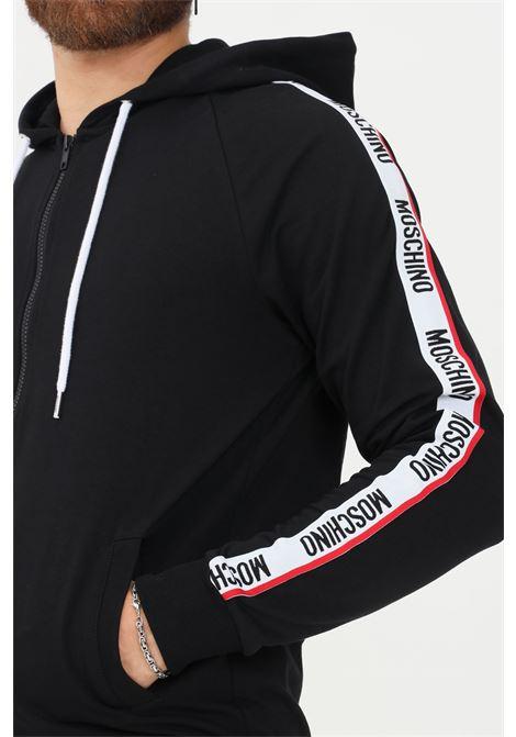 Felpa uomo nero moschino con zip e cappuccio MOSCHINO | Felpe | A170781040555