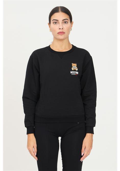 Black women's sweatshirt by moschino, crew neck model with front bear print MOSCHINO | Sweatshirt | A171390040555