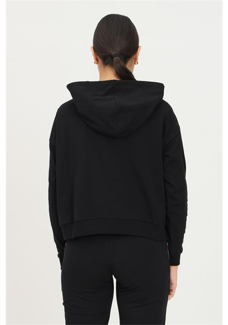 Black women's hoodie by moschino with logo band on the sleeves MOSCHINO | Sweatshirt | A171490040555