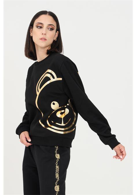 Felpa donna nero moschino con maxi logo MOSCHINO | Felpe | A171890130555