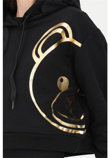 Felpa donna nero moschino con cappuccio e maxi logo MOSCHINO | Felpe | A171990130555