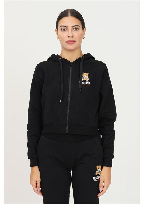Black women's hoodie by moschino with zip MOSCHINO | Sweatshirt | A172890040555