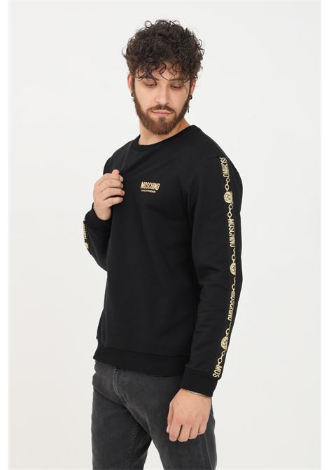 Felpa uomo nero moschino girocollo con bande logo in glitter oro MOSCHINO | Felpe | A172981110555