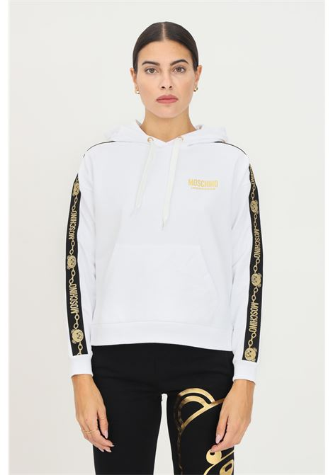 White women's hoodie by moschino with logo bands on the sleeves MOSCHINO | Sweatshirt | A173590110001