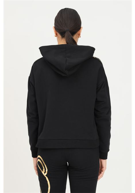 Black women's hoodie by moschino with logo bands on the sleeves MOSCHINO | Sweatshirt | A173590110555