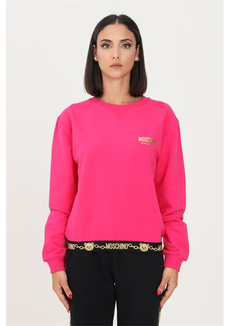 Fuchsia women's sweatshirt by moschino, crew neck model with logo band on the bottom MOSCHINO | Sweatshirt | A173690110210