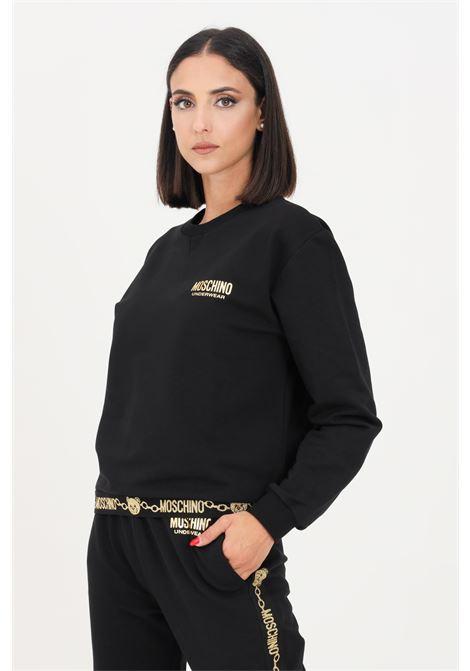 Felpa donna nero moschino a girocollo con logo glitter oro MOSCHINO | Felpe | A173690110555