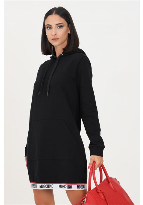 Black dress by moschino with logo band on the bottom, short cut MOSCHINO | Dress | A174190040555