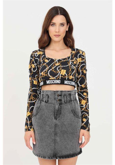 Black women's crop t-shirt with long sleeves moschino MOSCHINO | T-shirt | A180390091555
