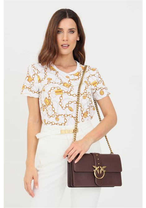 White women's t-shirt with allover gold print by moschino  MOSCHINO   T-shirt   A190290091001