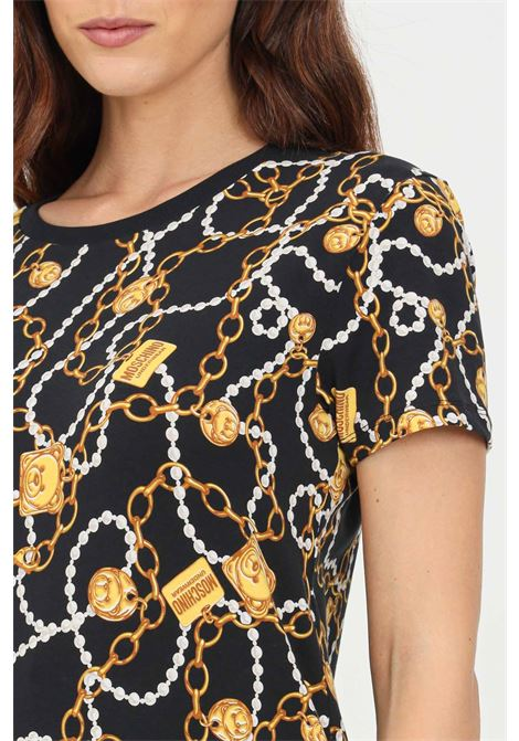 Black women's t-shirt with allover gold print by moschino  MOSCHINO   T-shirt   A190290091555