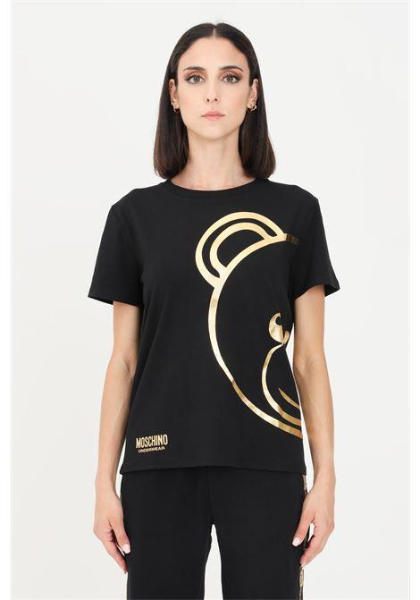 T-shirt donna nero moschino con maxi logo oro MOSCHINO | T-shirt | A190390100555