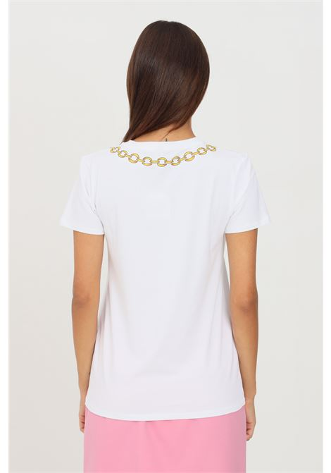 White women's t-shirt by moschino with front print short sleeve MOSCHINO | T-shirt | A190726030001