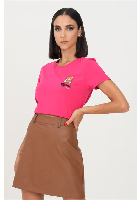 Fuchsia women's t-shirt by moschino with logo on the front, short sleeve  MOSCHINO | T-shirt | A191290030210
